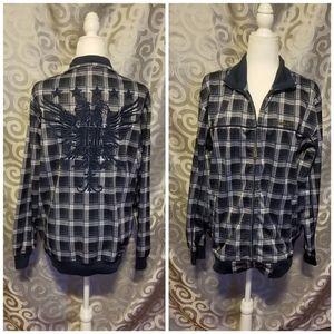 Ecko unltd plaid look zip up jacket